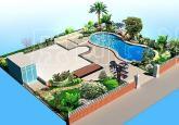 带人工游泳池和花园的别墅庭院效果图