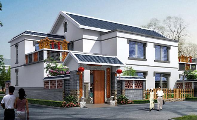559号二层城镇农居双拼房屋设计图建筑施工图纸附效果图22m×18m