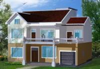 883实用二层带阳台车库新农村别墅设计图纸11m×12m