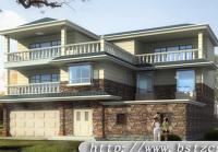 复古风格带车库框架结构三层房屋设计图16m×13m