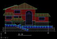 东阳市白云苑花园别墅建筑房屋设计图 21m×18m