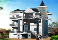 三层某岛上300平方架空带阁楼别墅建筑结构设计图16mX20m