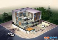 四层私人会所型现代别墅设计图纸(平屋顶)13.56m×14.7m