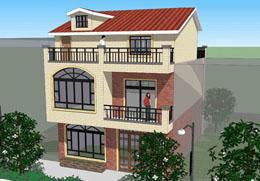 5201江苏三层100平米自建房小别墅效果图及设计图纸 8m×11m