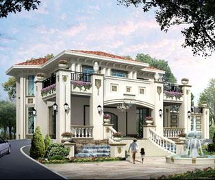 A型纯欧式豪华大气复式客厅别墅建筑方案及效果图
