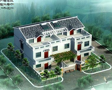新农村简单三层双拼别墅带庭院设计效果图