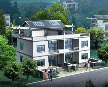 现代新农村中式双拼三层带庭院和露台别墅效果图