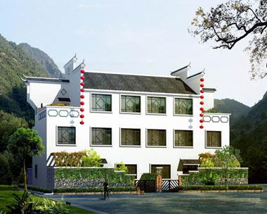 中式农村三层简洁带庭院双拼别墅效果图