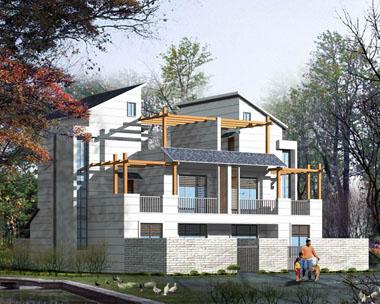 双拼简洁实用带庭院阳台露台小别墅效果图