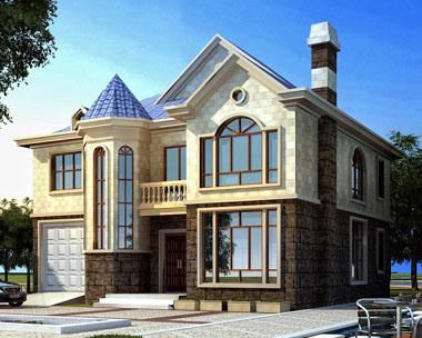 永云别墅AT215新农村二层欧式豪华别墅建筑设计图纸