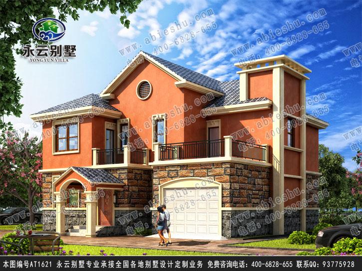 AT1621二层现代农村欧式别墅建筑图纸