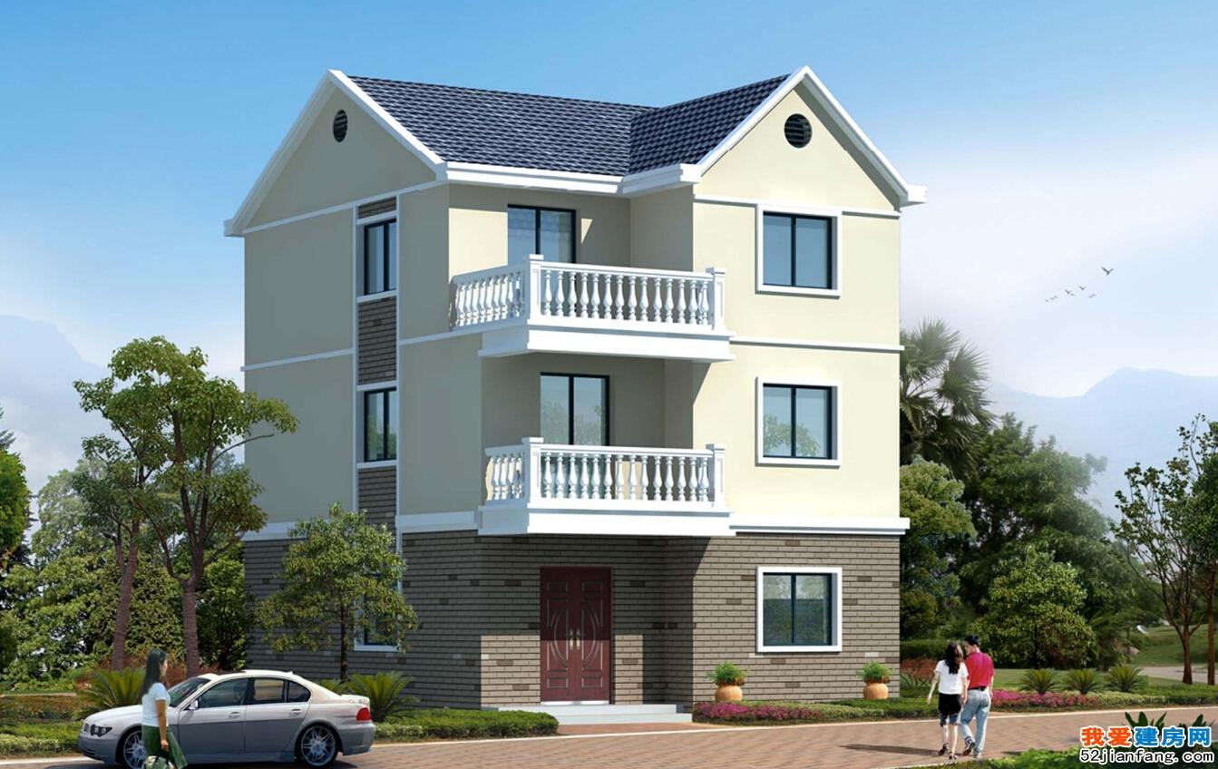 占地90平方米三层浙江农村自建房屋设计图8m×11.4m