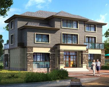 AT1695二层半法式复古风格别墅建筑效果图纸