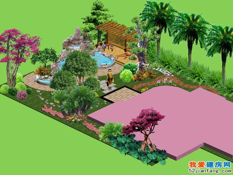 私人别墅花园带假山水系景观设计效果图