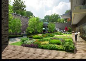 防腐木平台漂亮别墅后花园景观效果图欣赏