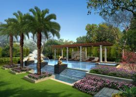 带喷泉休闲水景庭院景观设计效果图