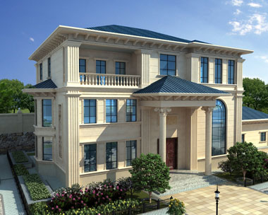 AT1710三层豪宅复式楼别墅及园林设计效果图