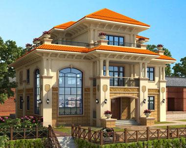 AT1700三层高档复式别墅及园林建筑效果图