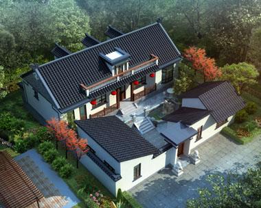 AT227一层半四合院中式风格别墅建筑设计图纸17.58mx18.9m