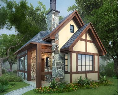 占地50平米一层英伦风度假休闲小别墅设计图纸8mx6m