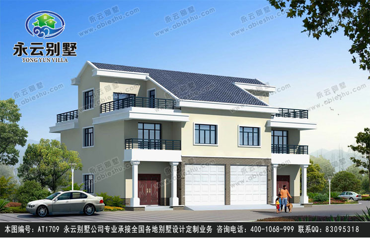 AT1709三层简洁双拼带车库别墅建筑设计效果图纸