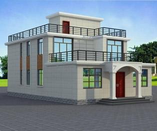 占地150平米的二层平屋顶带露台农村小别墅建筑图纸9m×16m