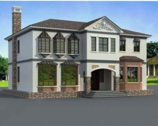 中式风格独栋二层复式客厅楼中楼房屋设计图纸15m×13m