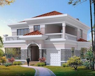 二层漂亮现代别墅带车库阳台全套设计图纸12m×13m