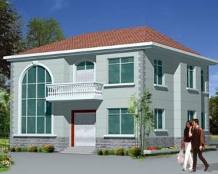 简约二层复式客厅楼中楼新农村小别墅图纸11.36m×11m