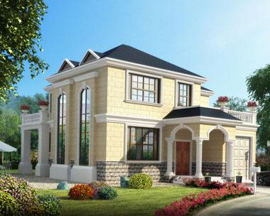 二层带车库外观高端豪华别墅建筑设计施工图纸12.8mx16.3m