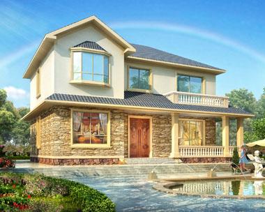 占地130平米新农村二层经济实用型别墅施工图纸15.3mx9.9m