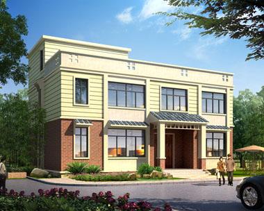 占地150平米二层平顶现代新农村别墅建筑设计图纸14.5mx9.9m