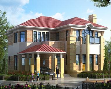 二层现代豪华带车库别墅建筑设计图纸15mx16.6m
