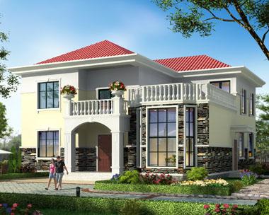 二层简欧复式带露台别墅施工设计图纸13.2mx14.5m