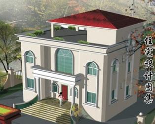 占地110平米两层半广东新农村小别墅建筑结构图纸12米×8米