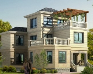 新农村占地130平米三层优雅大气别墅建筑设计图纸10米×17米