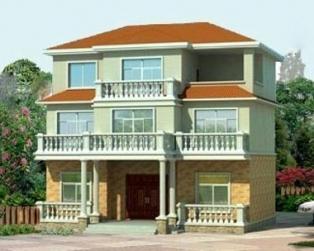 三层经典新农村住宅别墅建筑施工图纸及效果图 13米×12米