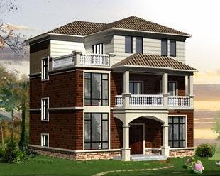 农村简洁三层坡顶古典风格别墅建筑施工设计图纸12米×12米