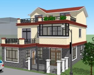 三层漂亮现代带庭院小别墅全套设计图纸9m×15m