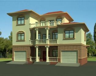 占地130平米三层双车库豪华别墅建筑施工设计图纸14米×10米