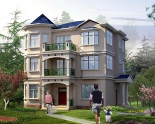 占地130平米三层欧式新农村套房别墅带图纸12米×12米