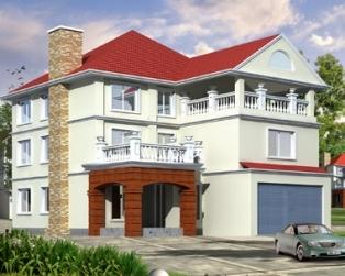 乡村私家三层欧式高档双车库别墅建筑设计图纸12米×16米