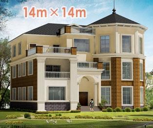 豪华欧式私人自建三层别墅设计全套施工图纸14米×14米