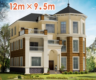 占地120平米欧式大气三层别墅设计图纸12m×10m