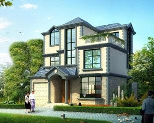 现代新农村建设三层民族风格带车库小别墅设计图纸10米×11米