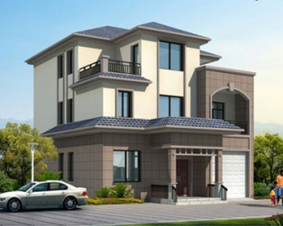 城乡简洁房屋建筑三层别墅全套设计图纸及效果图10m×13.7m