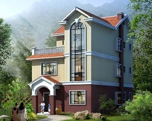 占地小于100乡村带露台三层小别墅建筑施工设计图纸9m×12m