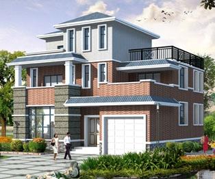 新农村带车库露台三层小康别墅建筑设计方案图纸13米×12米