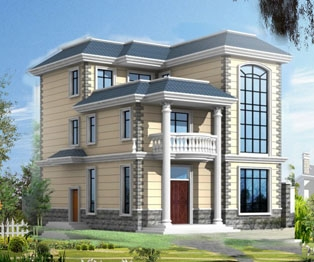占地140平米三层豪华别墅设计图纸结构水电图10米×13.5米