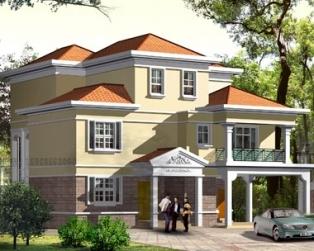 三层现代双车库复式客厅楼中楼别墅建筑施工设计图纸15米×16米
